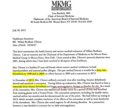 HRC health letter snip